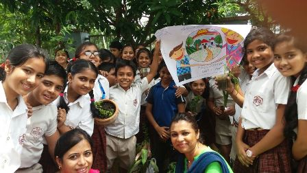 Plantation Drive on the occassion of World Environment Day by the students of Class IV & V